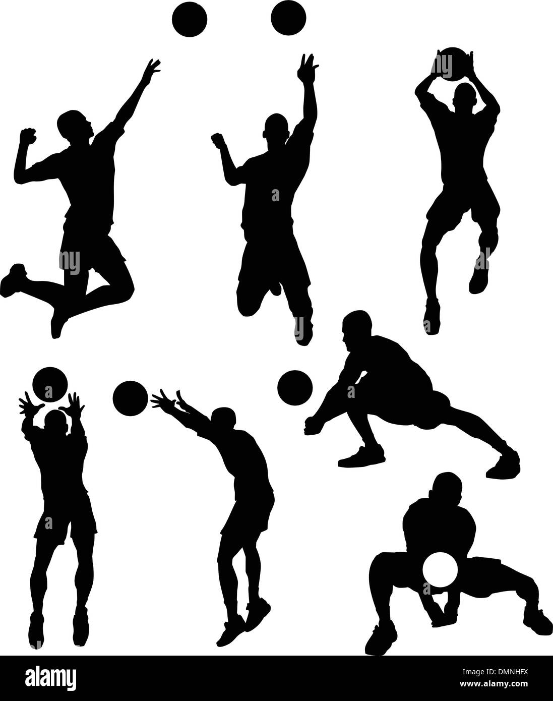 Volleyball Player Hitting Ball Male Silhouette, Vector