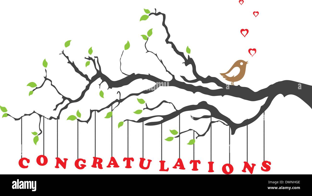 congratulations card with bird on a tree branch stock image