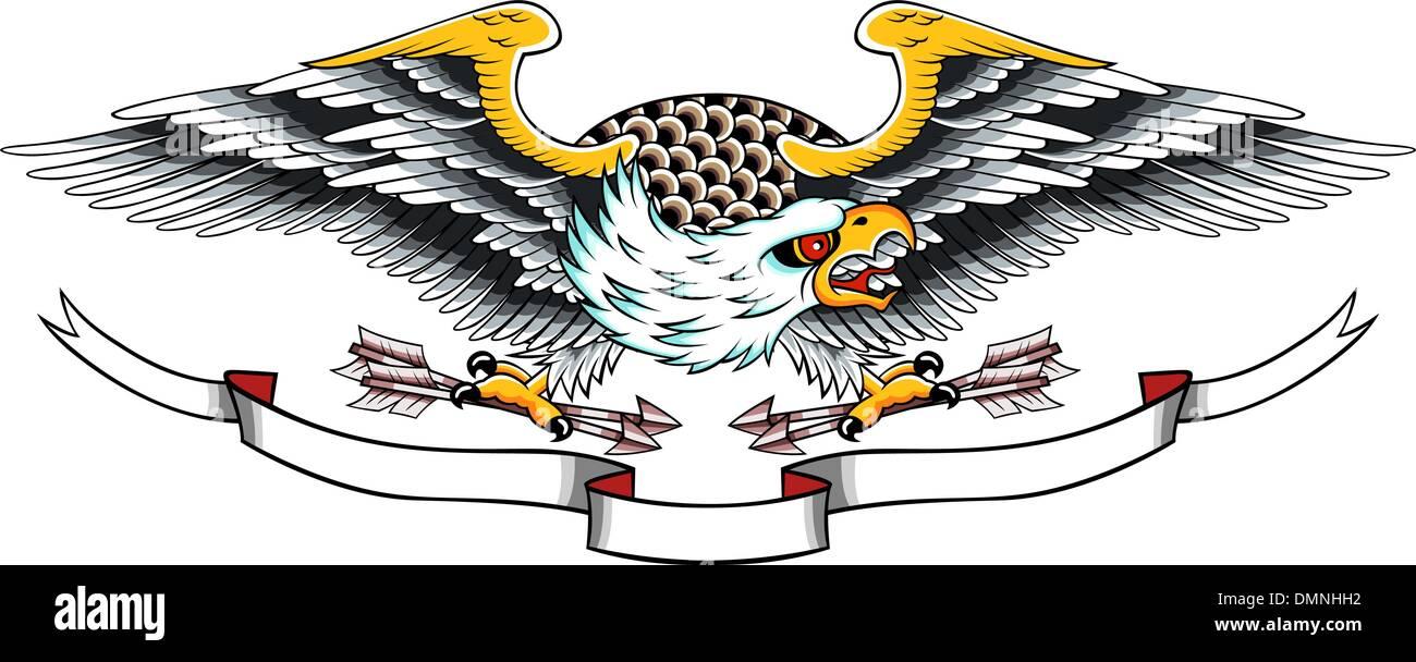 eagle wing ribbon banner emblem design stock vector image art alamy https www alamy com eagle wing ribbon banner emblem design image64399022 html