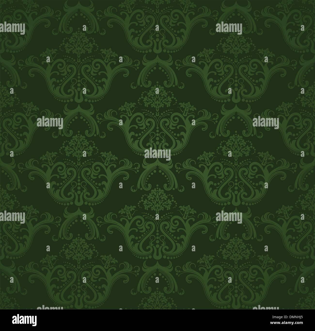 Dark Green Floral Wallpaper Stock Vector Art Illustration