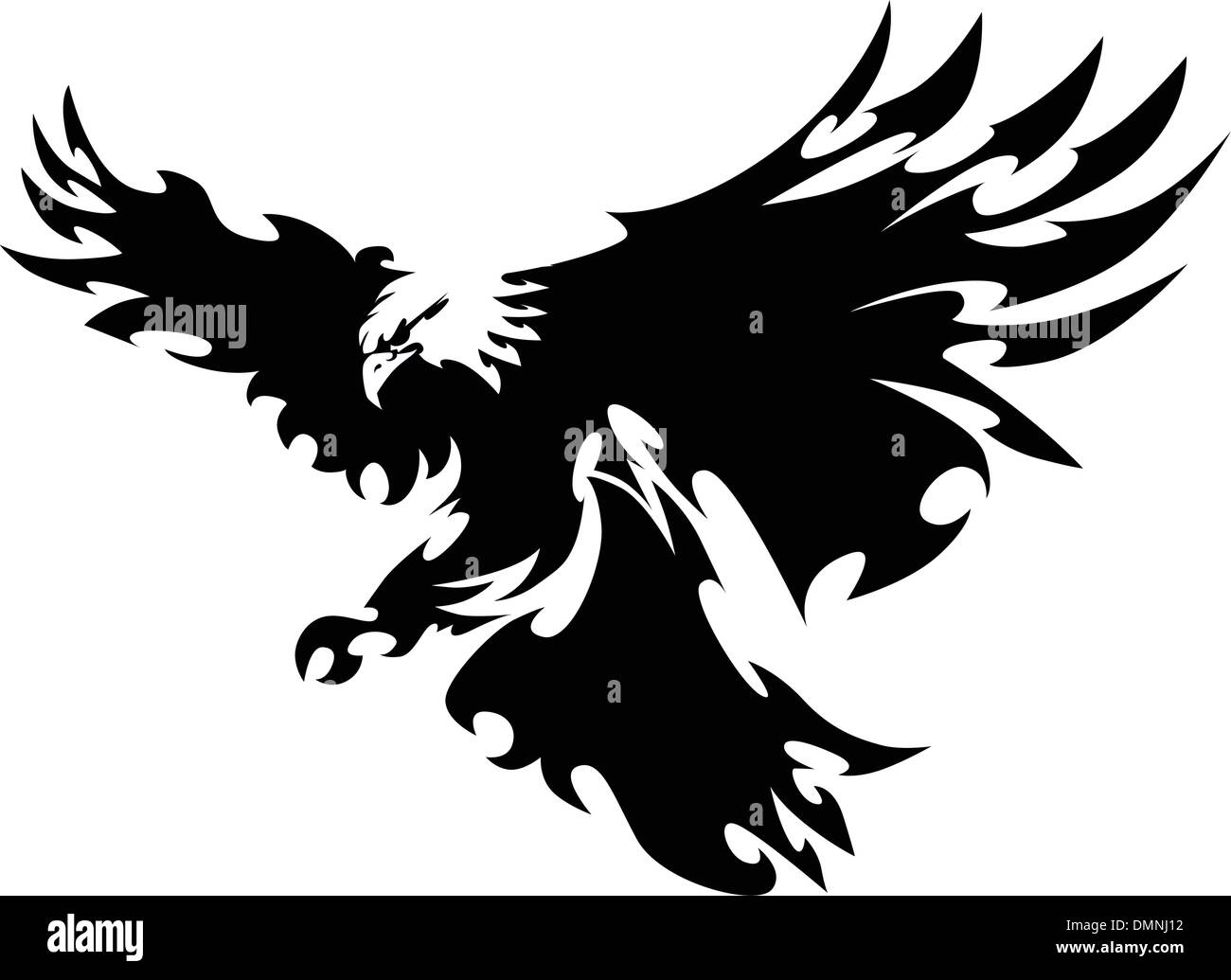 Eagle Mascot Flying Wings Design - Stock Image
