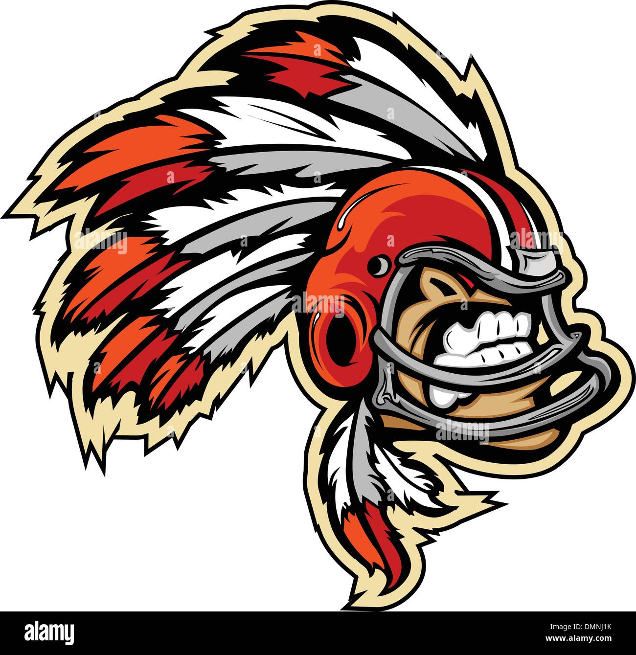 Indian Chief Football Mascot Wearing Helmet with Feathers Vector - Stock Image