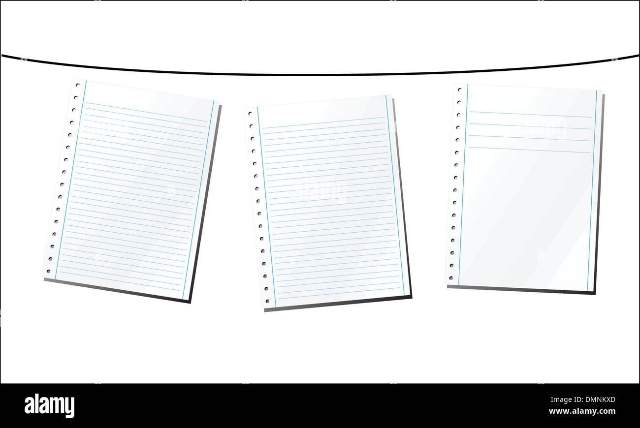 Hang Wire Stock Vector Images Alamy Faxphone Wiring Diagram Sheets Of Paper On A