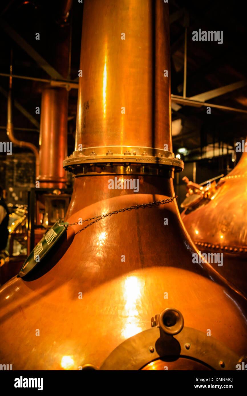 Jameson Irish Whiskey Distillery Copper Stills at their factory in Dublin - Stock Image