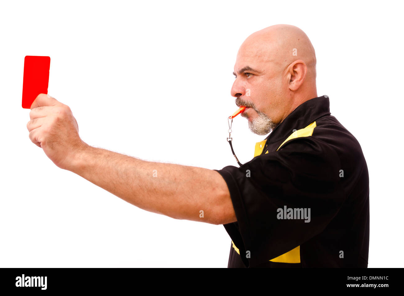 Profile of isolated referee with red card. Isolated on white - Stock Image