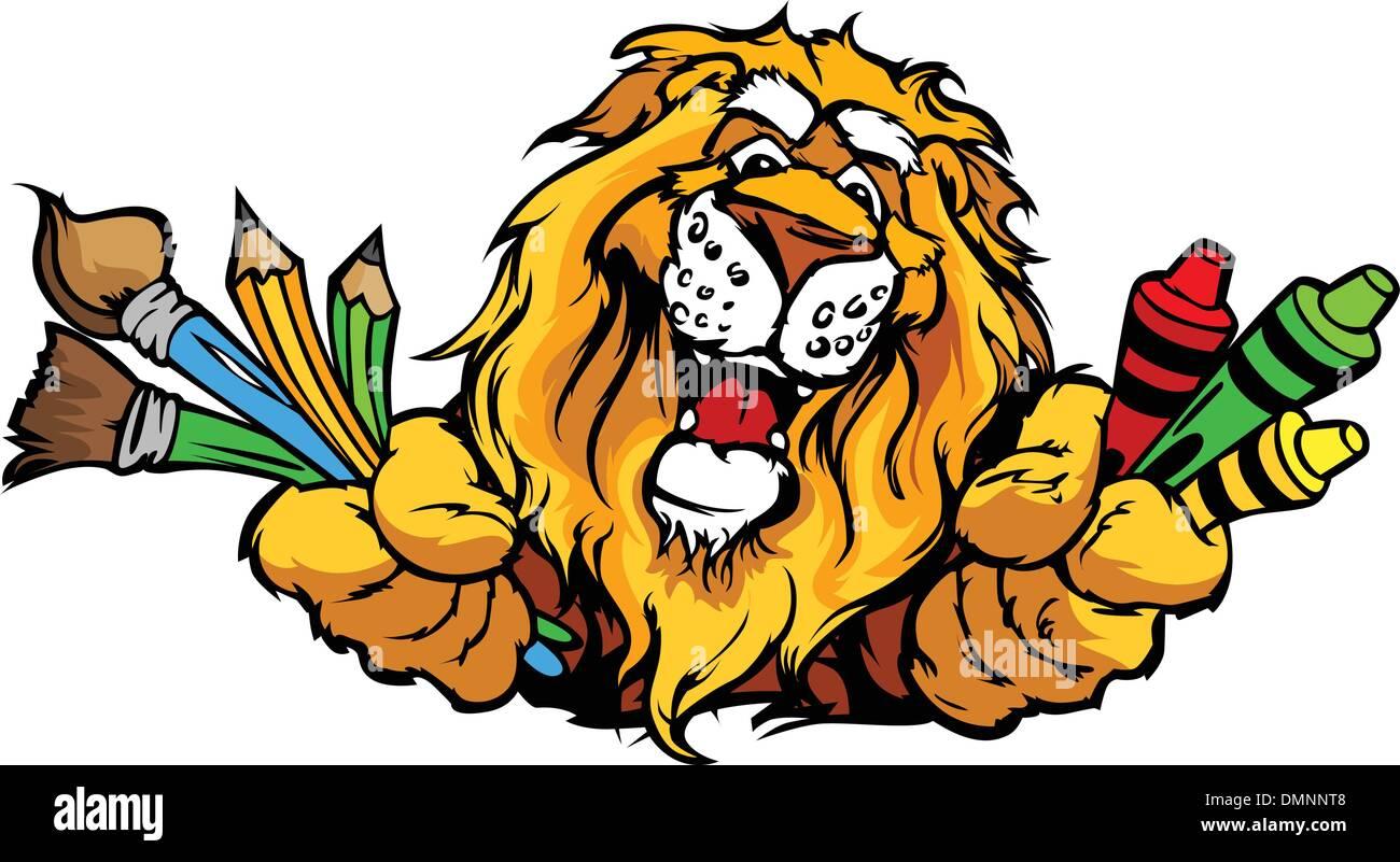 Happy Preschool Lion Mascot Cartoon Vector Image - Stock Image