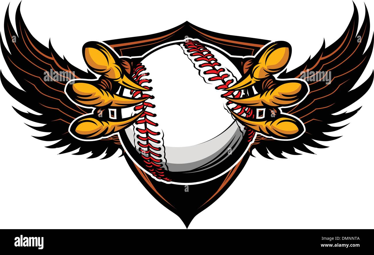 Eagle Baseball Talons and Claws Vector Illustration - Stock Image