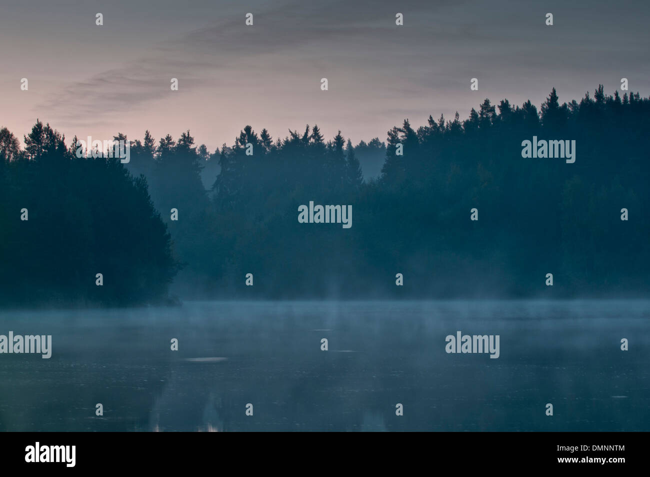 Mist over a lake in the morning - Stock Image