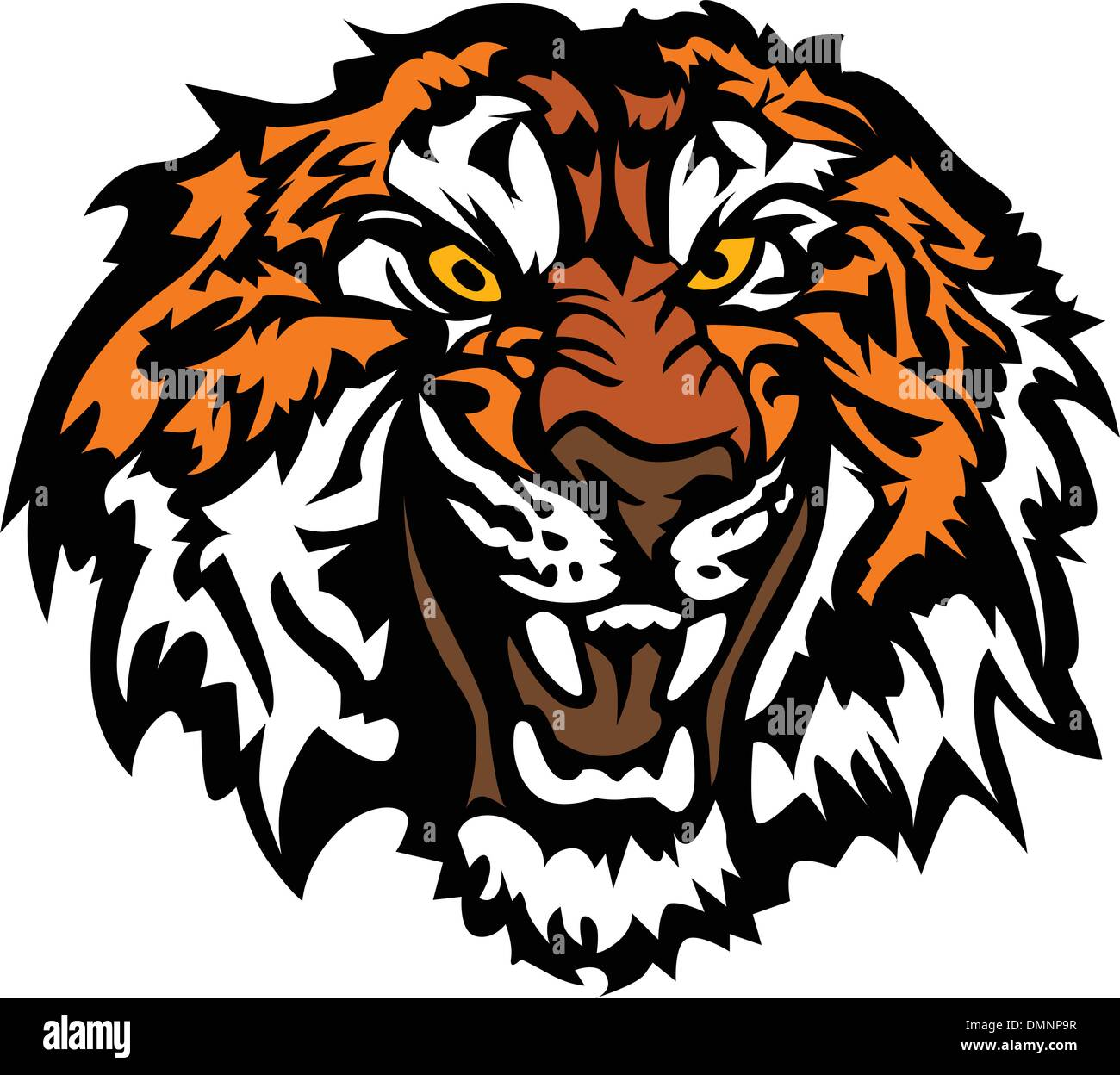 Tiger Head Snarling Graphic Mascot - Stock Image