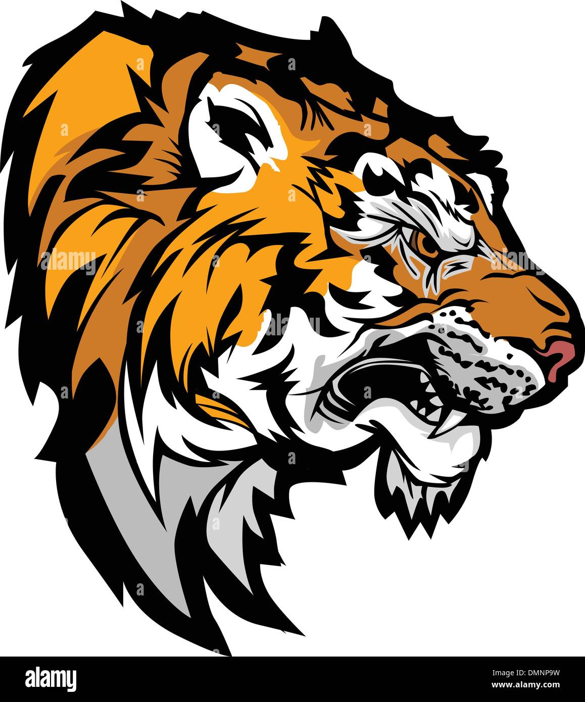 Tiger Head Profile Graphic Mascot Illustration - Stock Image
