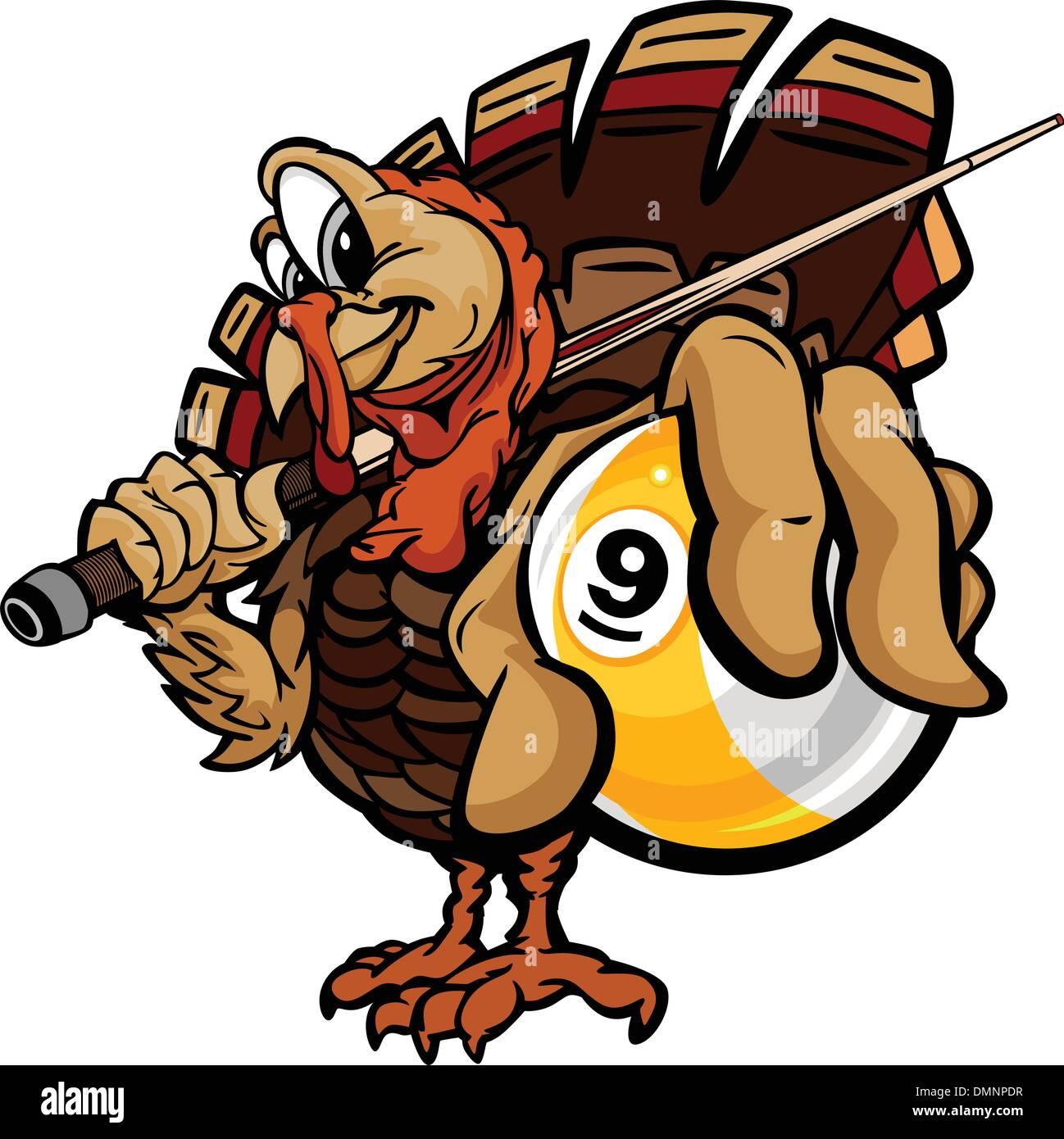 Billiards Nine Ball Thanksgiving Holiday Turkey Cartoon Vector I - Stock Vector