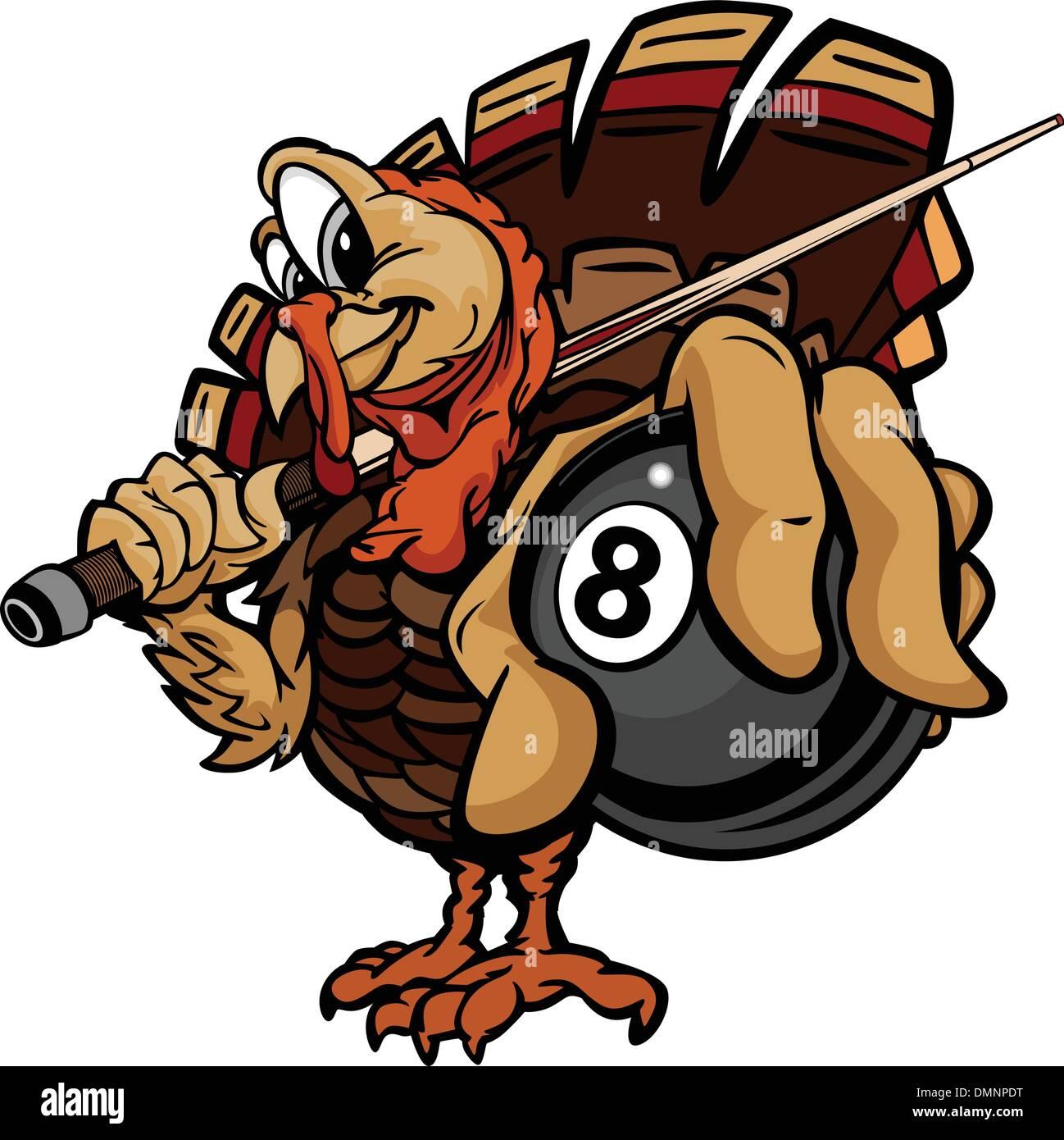 Billiards Eight Ball Thanksgiving Holiday Turkey Cartoon Vector - Stock Vector