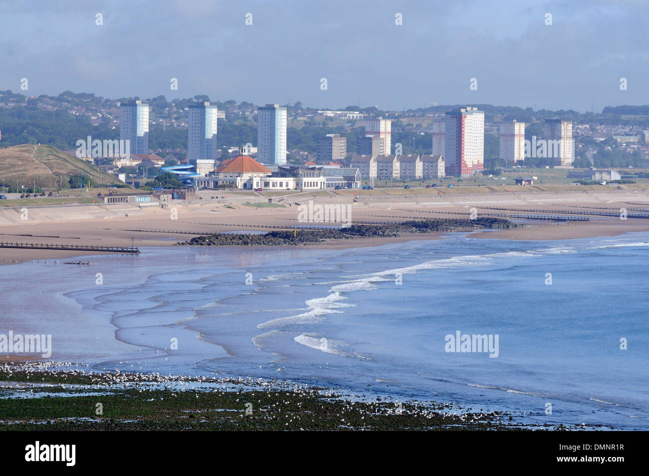 high rise flats aberdeen granite city beach - Stock Image