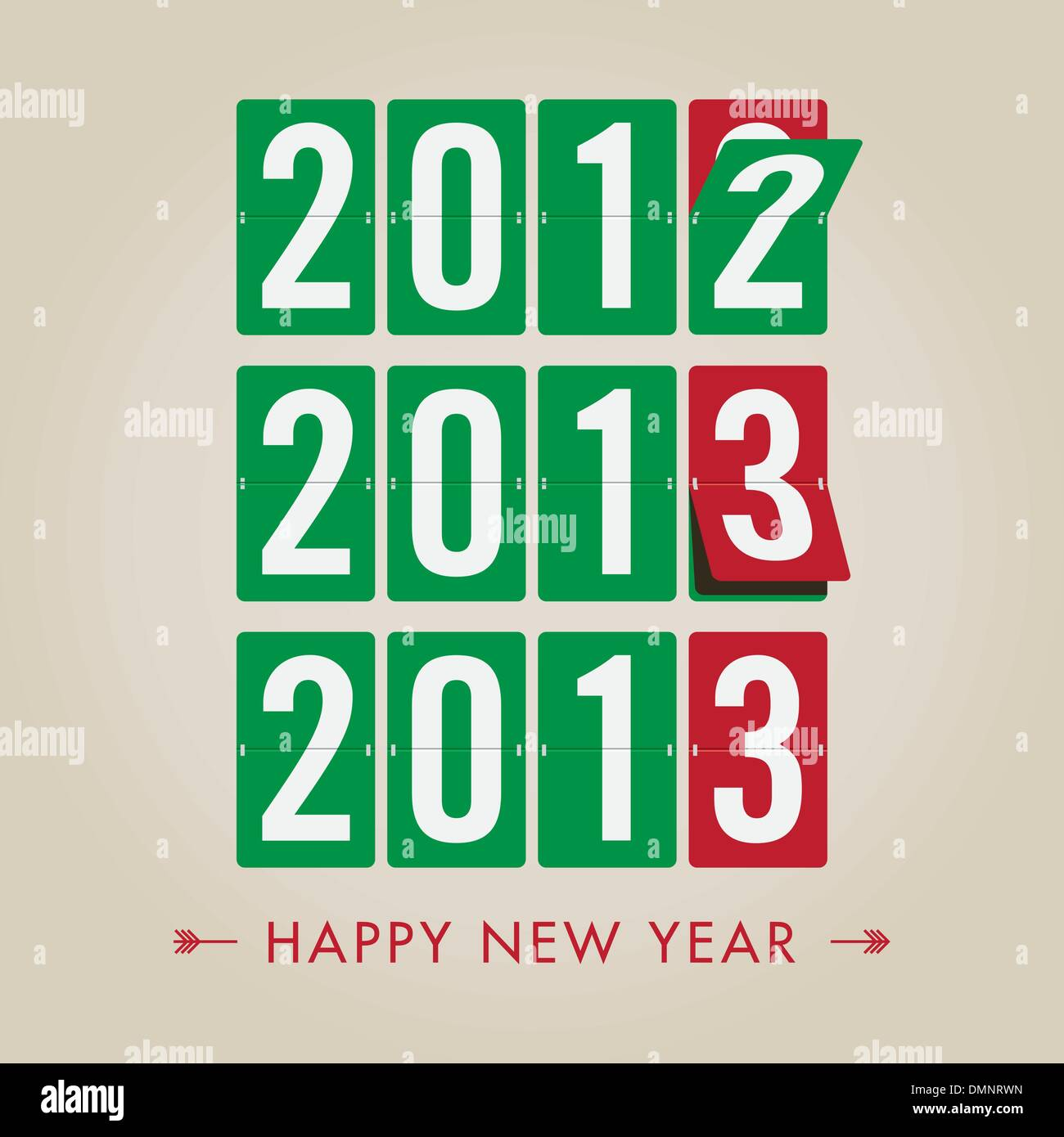 Mechanical timetable numbers count, happy new year's eve 2013 - Stock Image