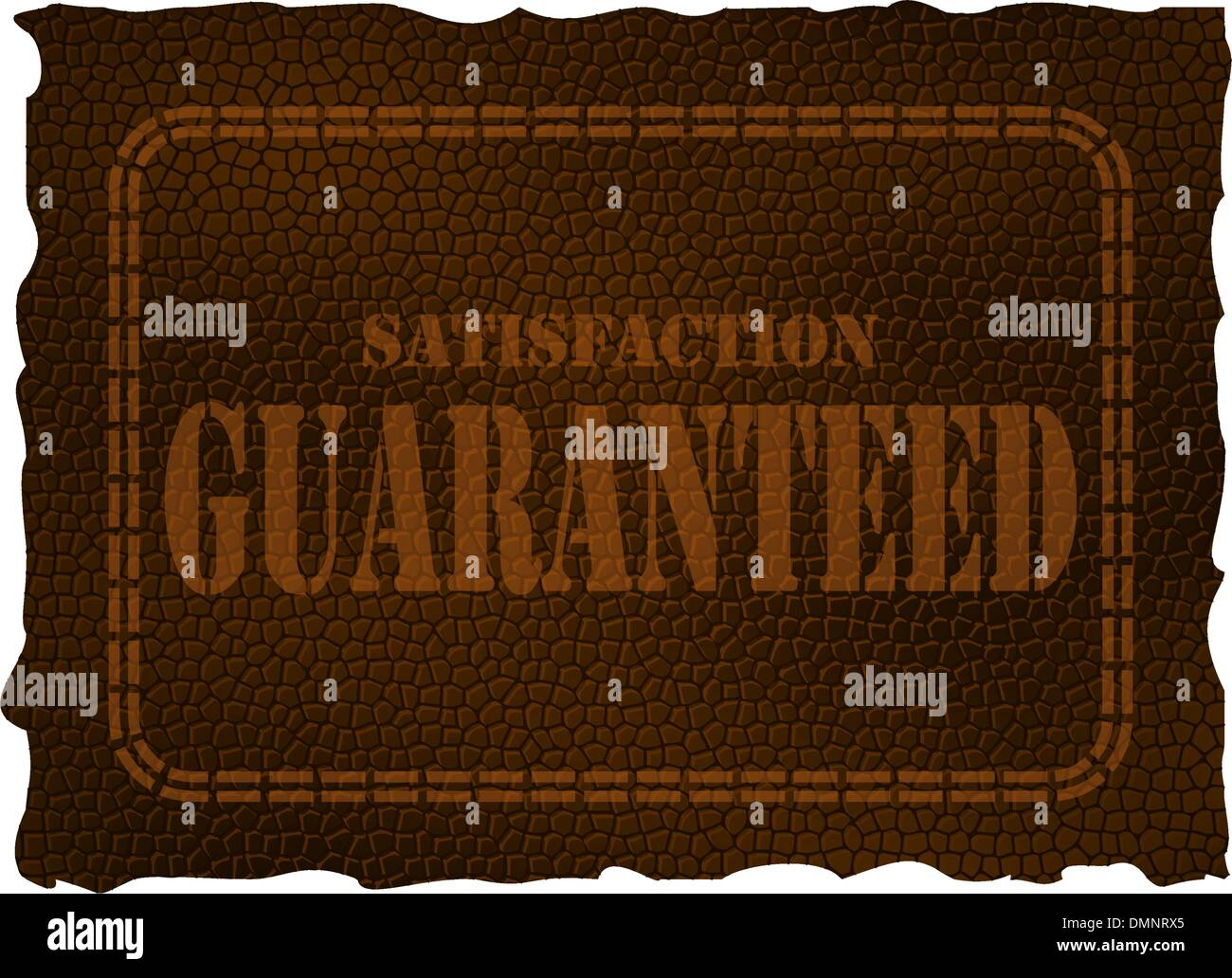 Leather patch - satisfaction guaranteed - Stock Vector