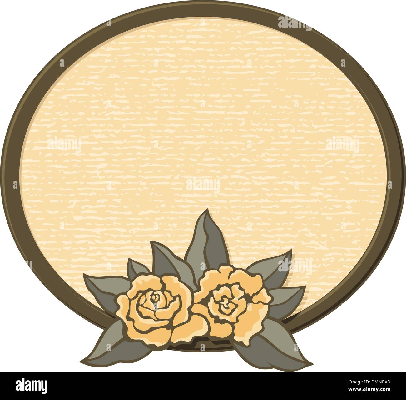 Oval frame with roses - Stock Image