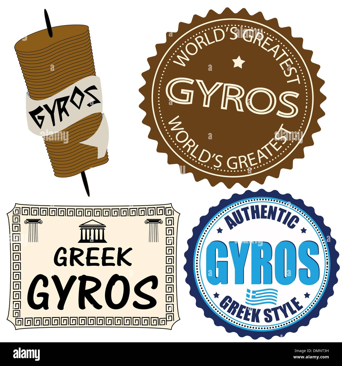 Set of gyros labels - Stock Vector