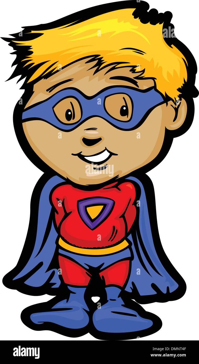 Cute Boy In Super Hero Outfit Cartoon Vector Illustration - Stock Vector