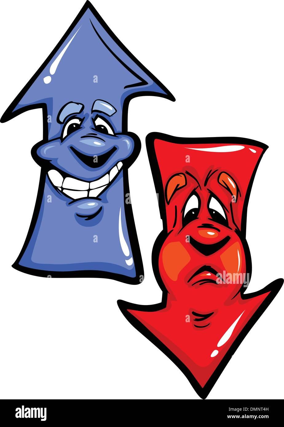 Happy Up Arrow and Unhappy Down Arrow Cartoon Vector Illustratio - Stock Image