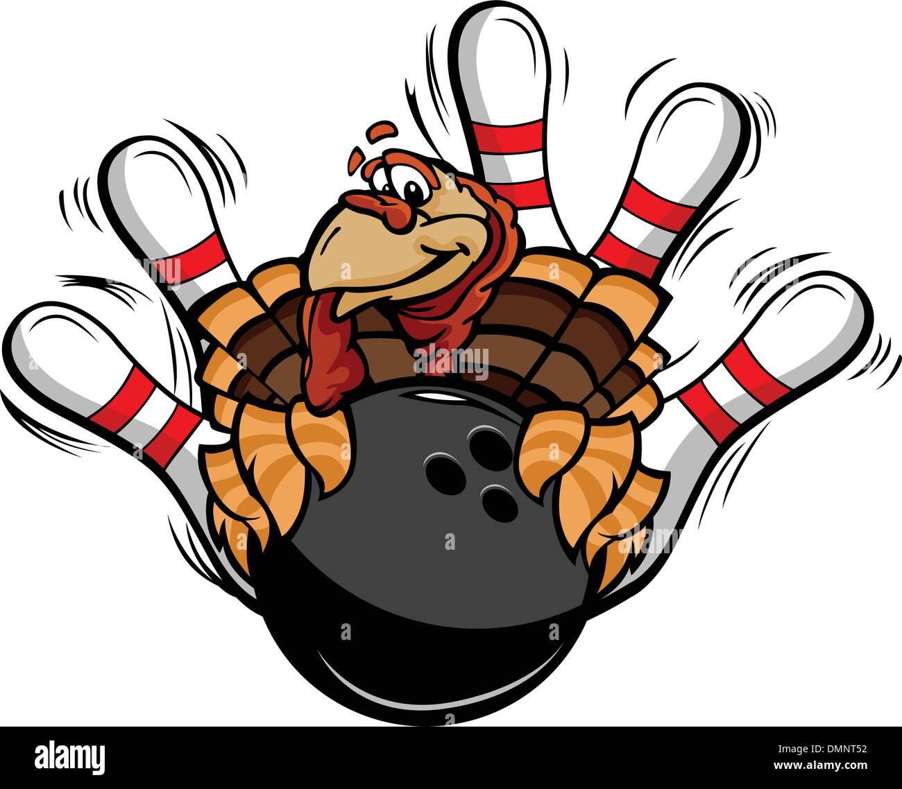 Bowling Thanksgiving Holiday Turkey Cartoon Vector Illustration - Stock Vector