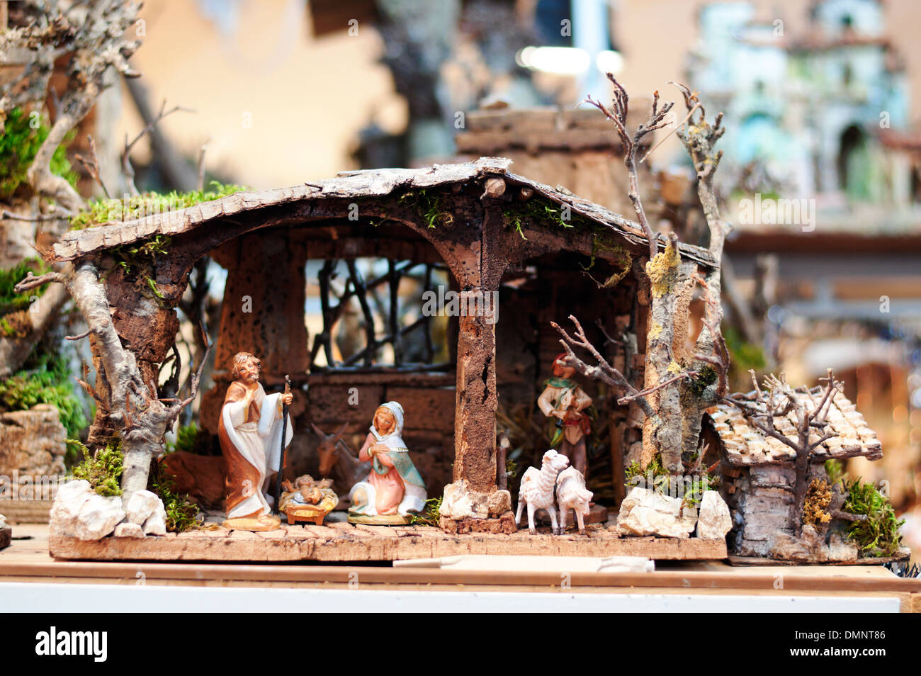 Italian nativity scene with hand-colored figures close-up. - Stock Image