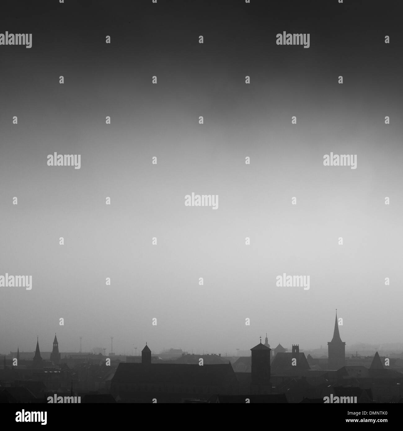 Cityscape of Erfurt in the fog, Thuringia, Germany, Europe Stock Photo