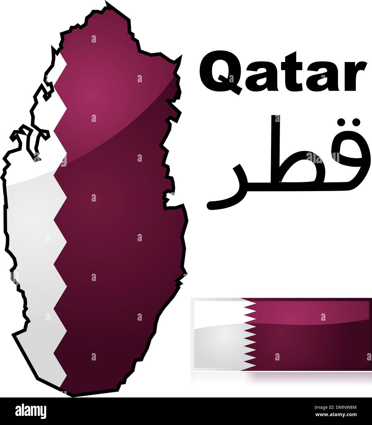 Qatar map and flag Stock Vector Art & Illustration, Vector Image ...