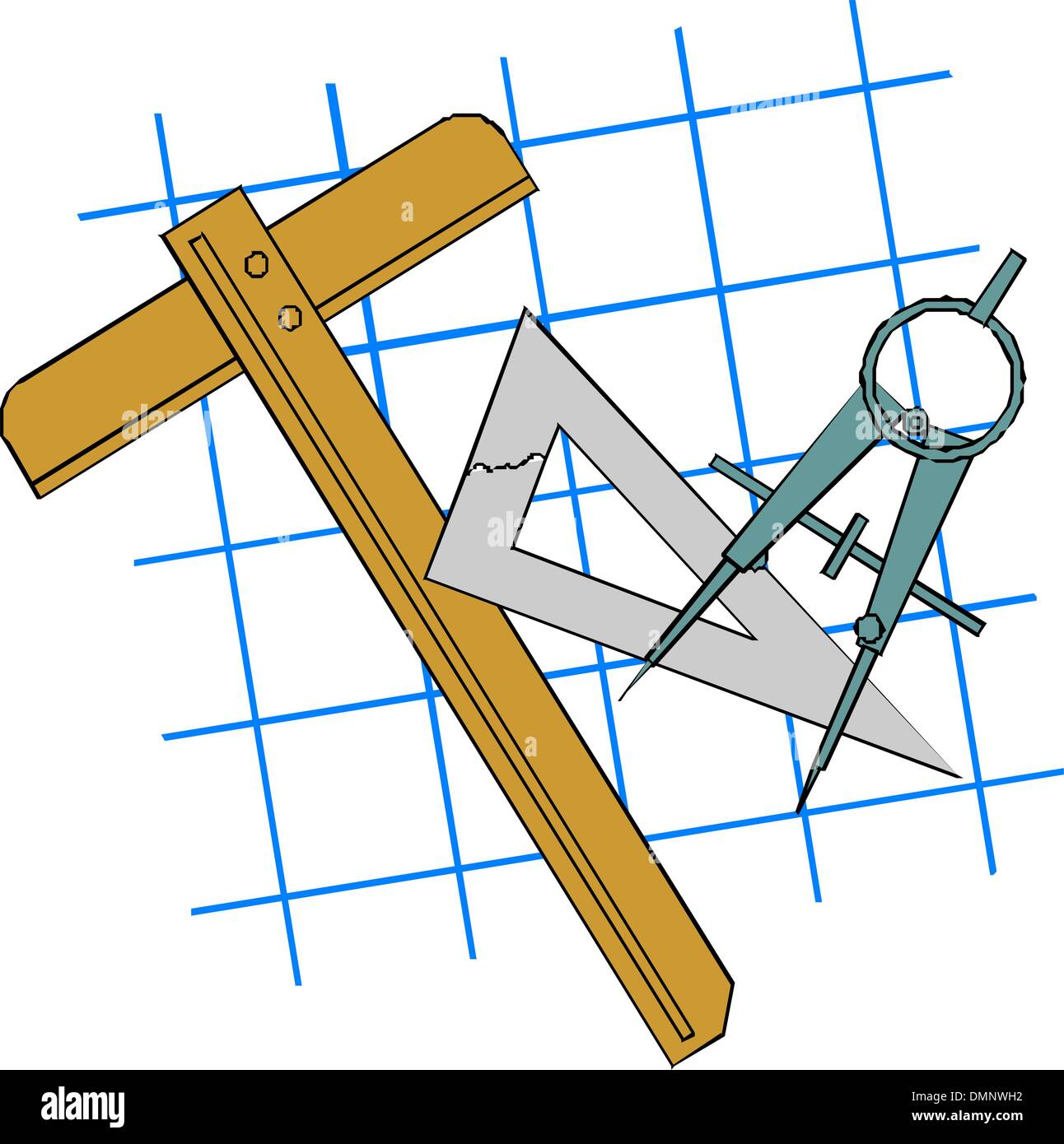 Drawing compass and rulers - Stock Vector