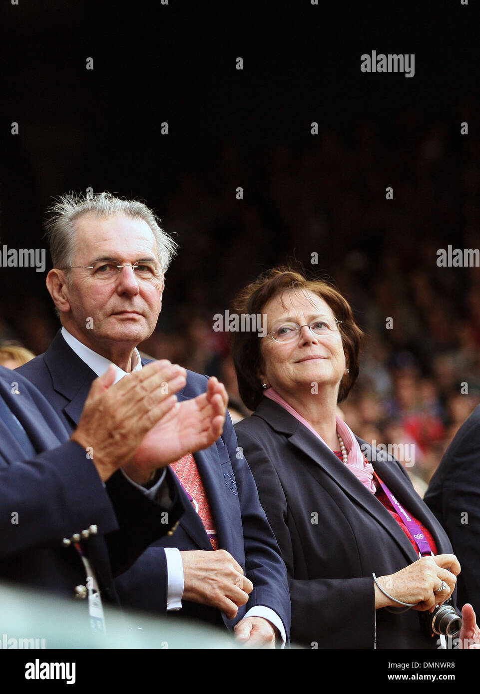 IOC President Jacques Rogge London 2012 Olympic Games - Men's Tennis Singles Final - Andy Murray (GBR) v Roger - Stock Image