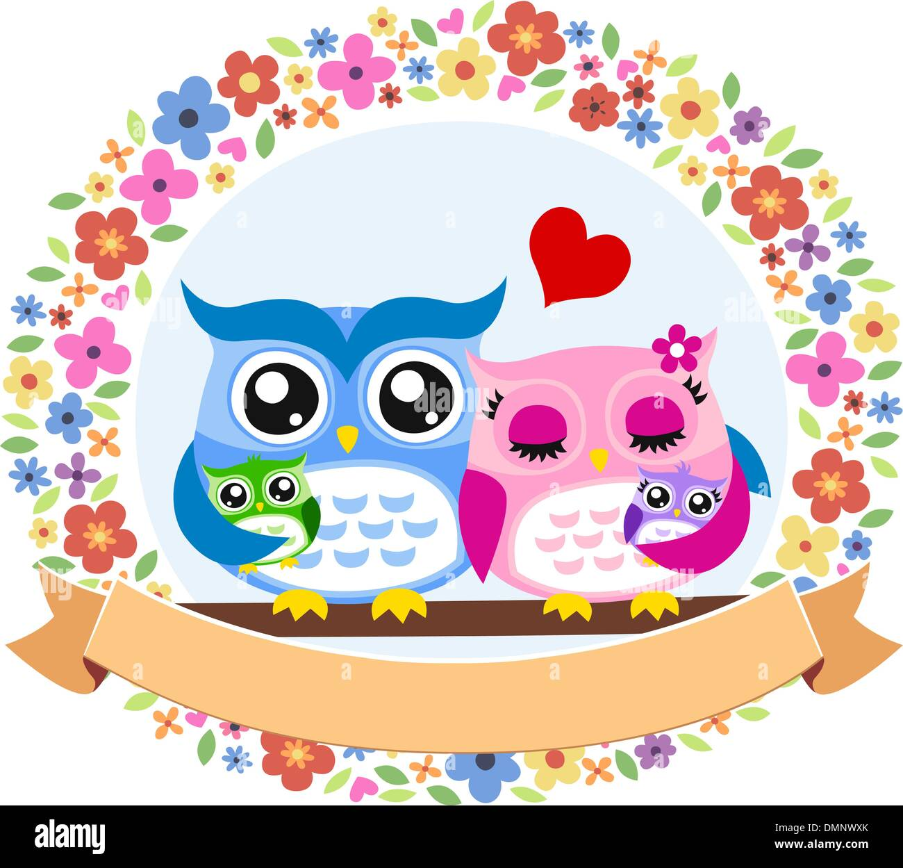 happy owl bird family with decorative floral frame Stock Vector Art ...