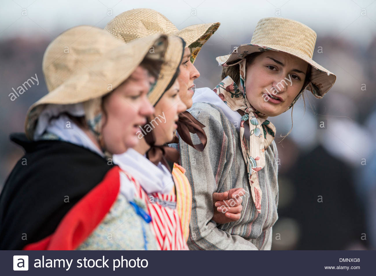 Netherlands, Scheveningen. Bicentenary. Historic landing at Scheveningen beach. Fishermen and women in traditional - Stock Image