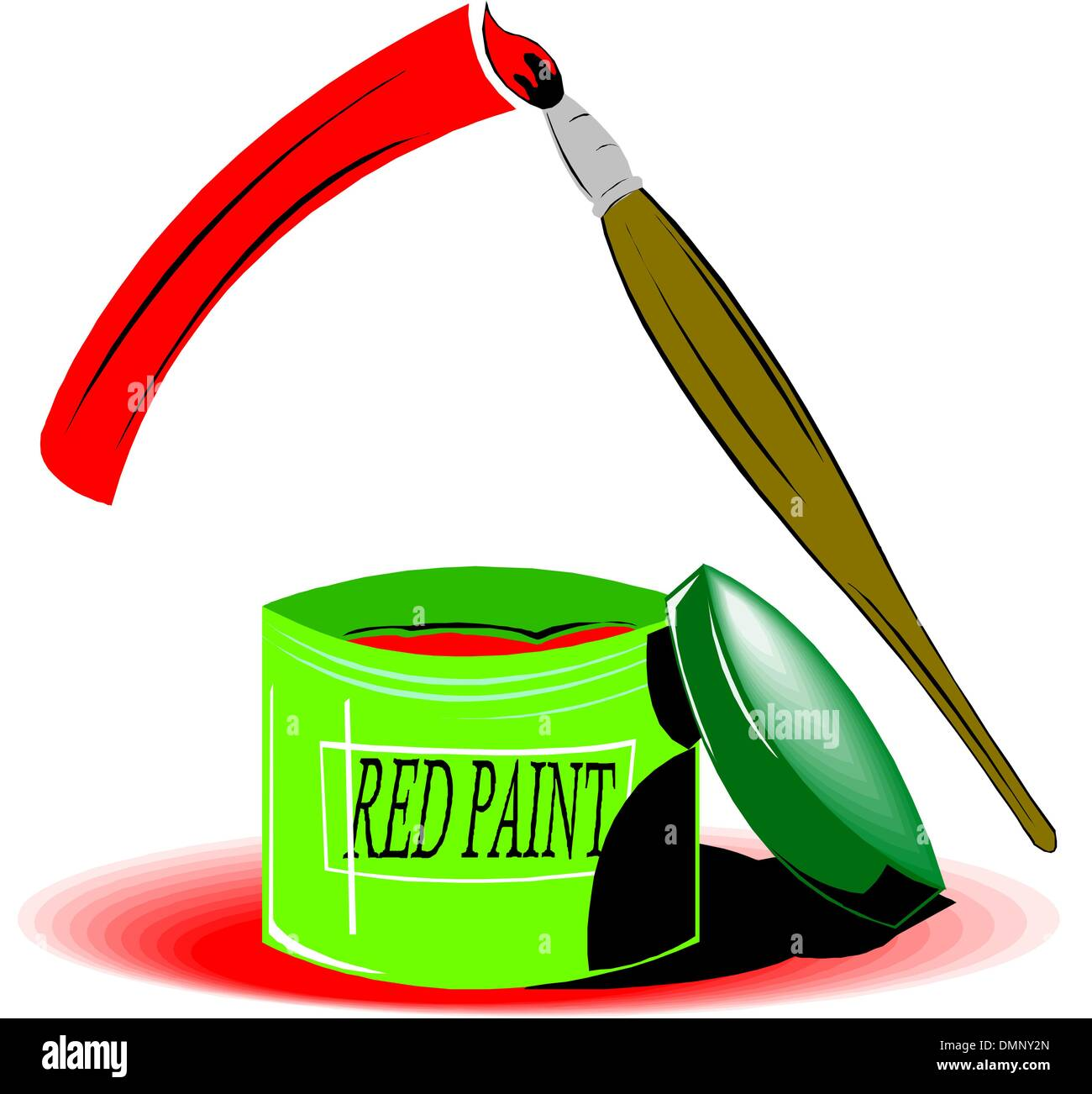 Brush with red paint - Stock Image