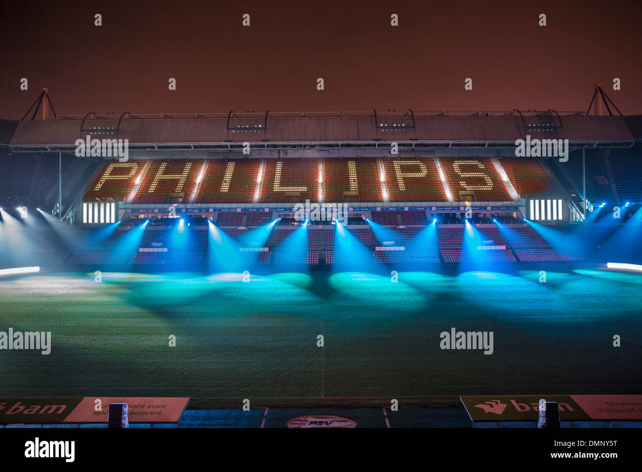 Netherlands, Eindhoven, Light festival called GLOW 2013. Project Clashlight in the Philips PSV football stadium - Stock Image