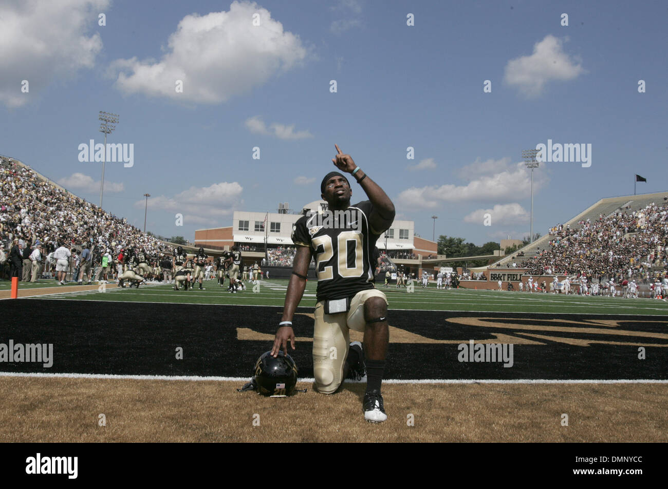 Sep. 12, 2009 - Wake Forest, North Carolina, U.S - September 12, 2009:  Wake Forest running back Lovell Jackson #20 spends a moment in silence prior to the game.  Jackson caught a 44-yard pass that led to the winning touchdown. The Wake Forest Deacons defeated the Stanford Ducks 24-17 at BB&T Stadium in Winston-Salem, North Carolina. (Credit Image: © Margaret Bowles/Southcreek Glob - Stock Image