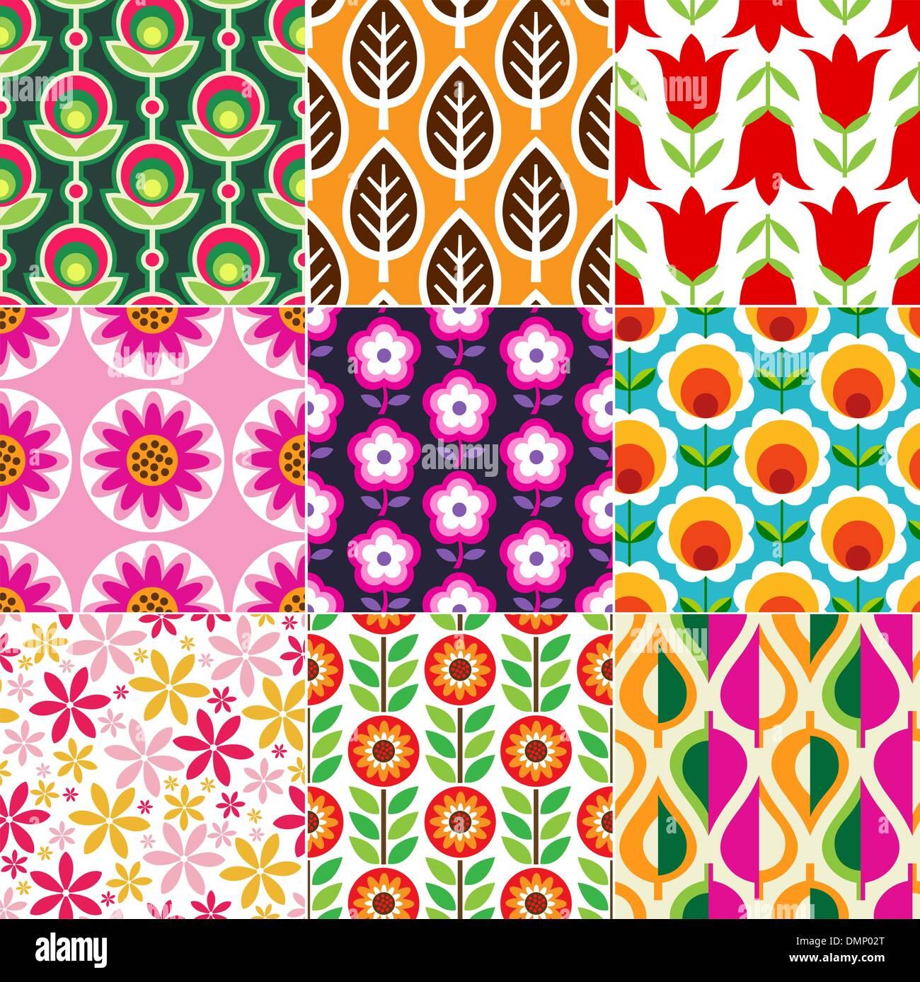 seamless retro flower pattern - Stock Image