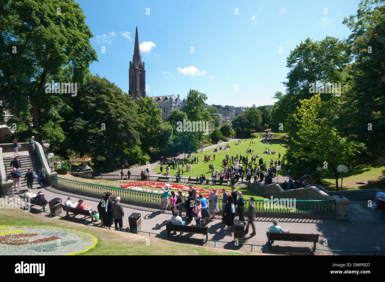 union terrace graduation party students sunny day - Stock Image