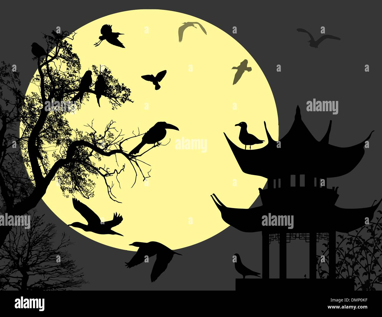 Birds on  night landscape - Stock Vector