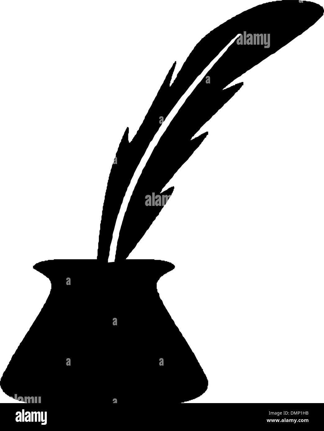 Bottle of  ink & feather - Stock Vector