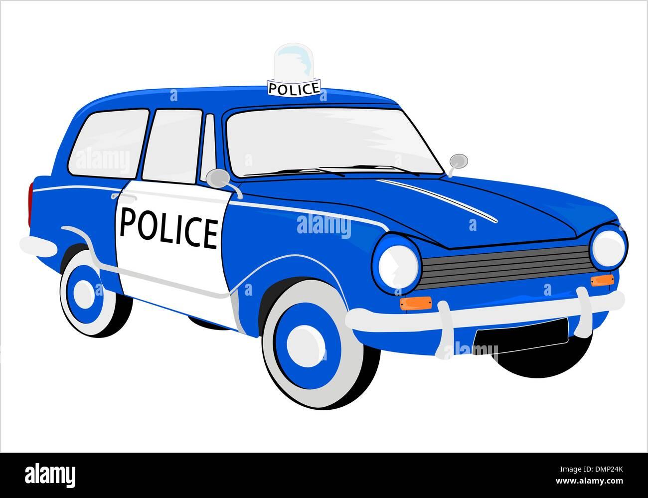 Retro police car - Stock Vector