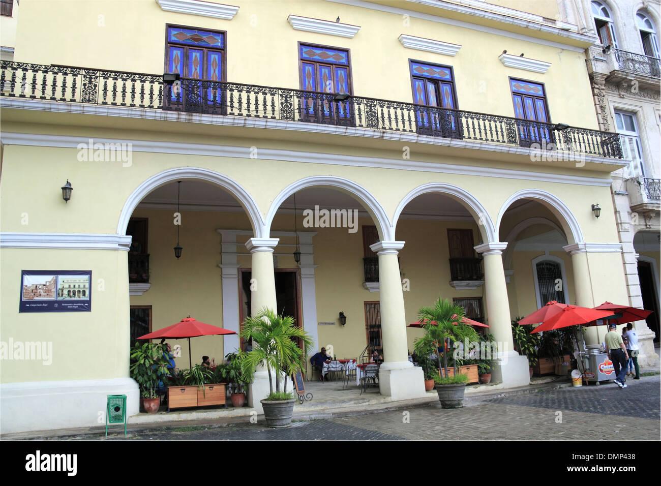 Hostal Santo Angel, Plaza Vieja, Old Havana (La Habana Vieja), Cuba, Caribbean Sea, Central America - Stock Image