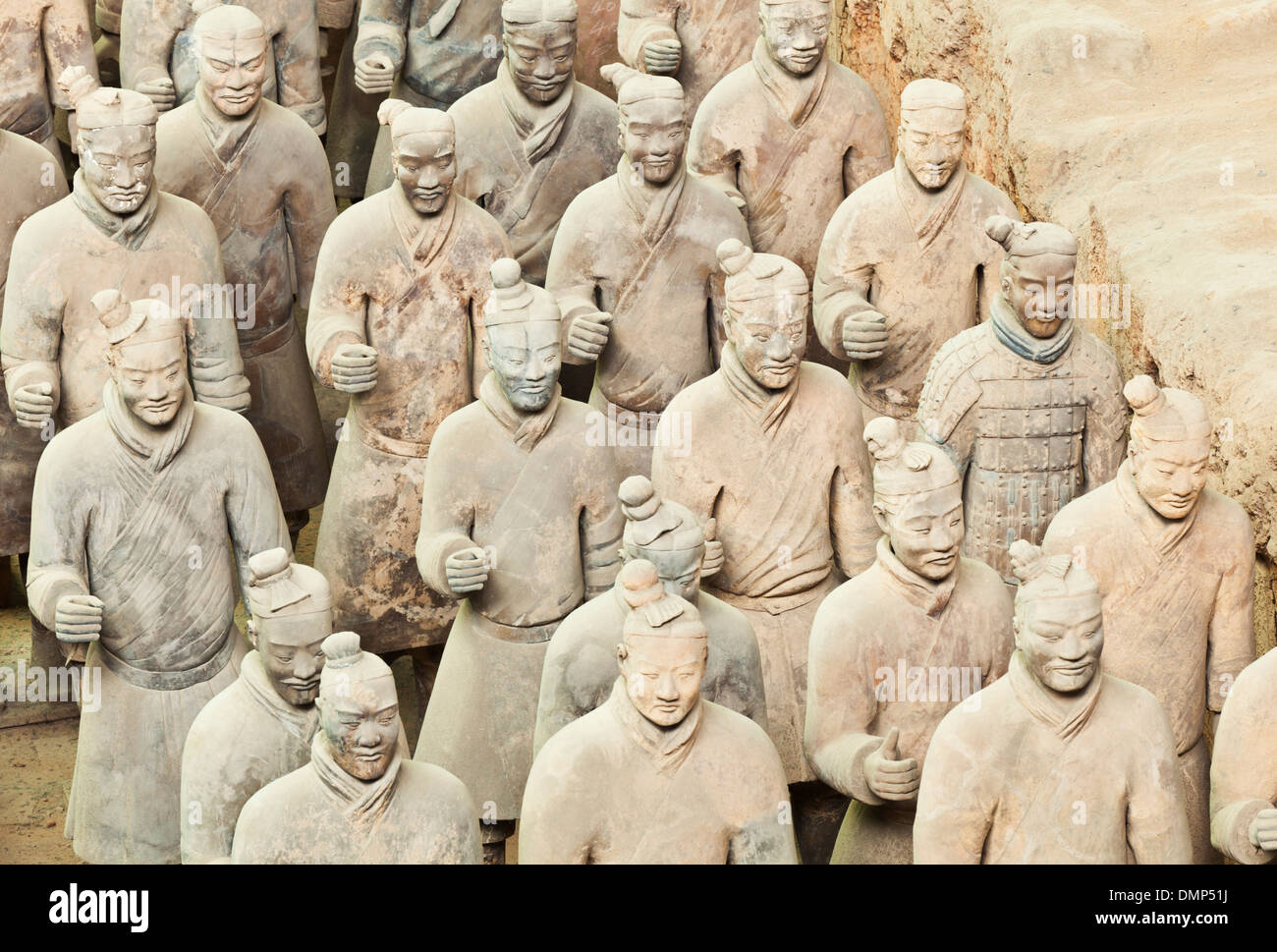 Figures of the Terracotta Warriors Army Pit Number 1, Xian, Shaanxi Province, PRC, People's Republic of China, Asia - Stock Image