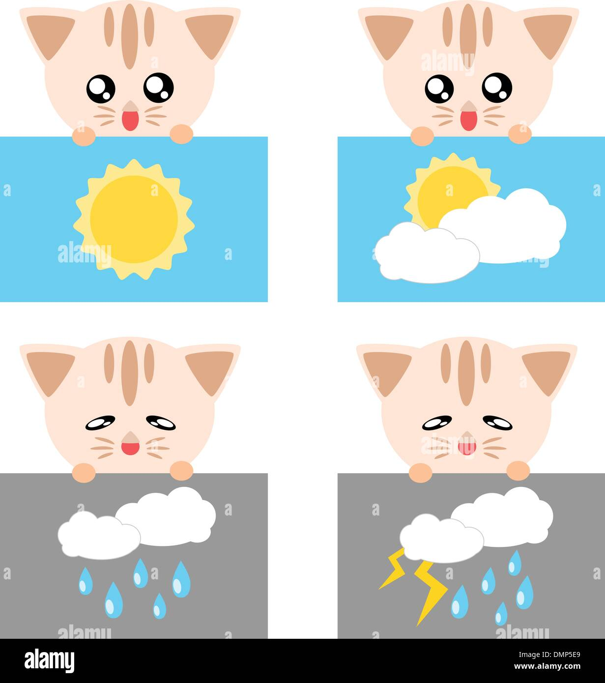 Paper cat weather icon illustration - Stock Vector