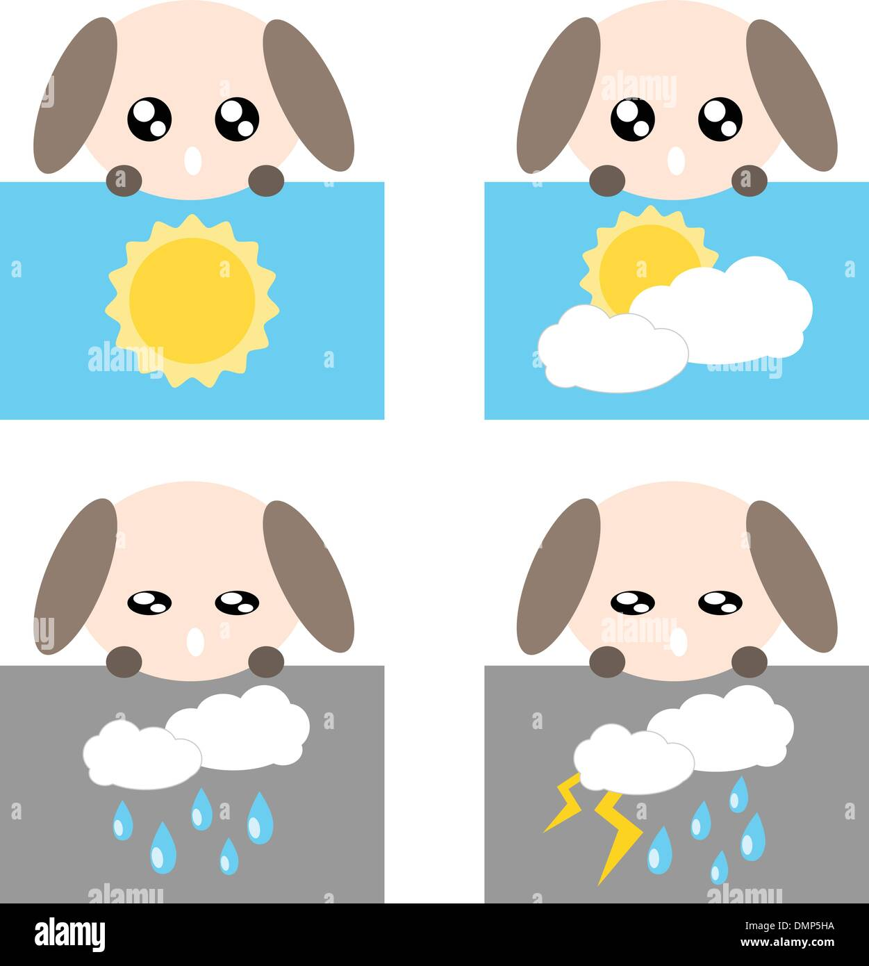 Paper weather dog icon illustration - Stock Vector