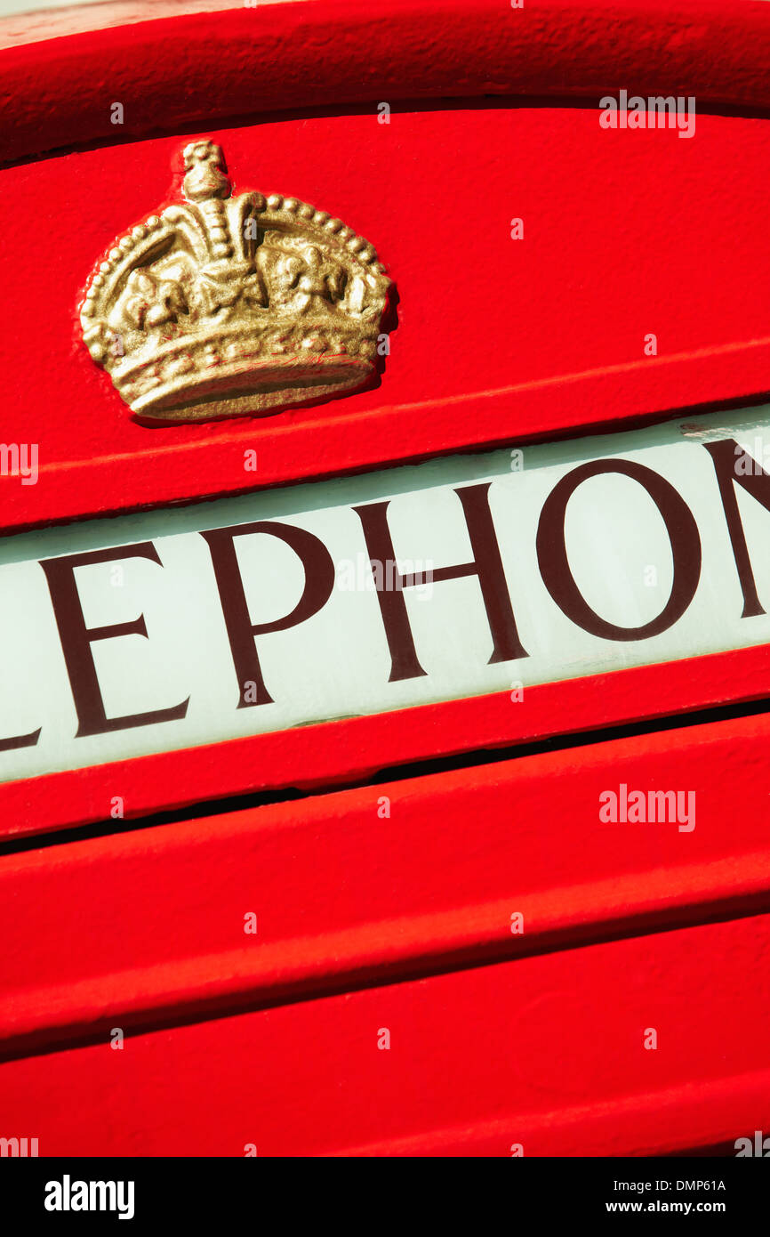 Detail of London red telephone box Stock Photo
