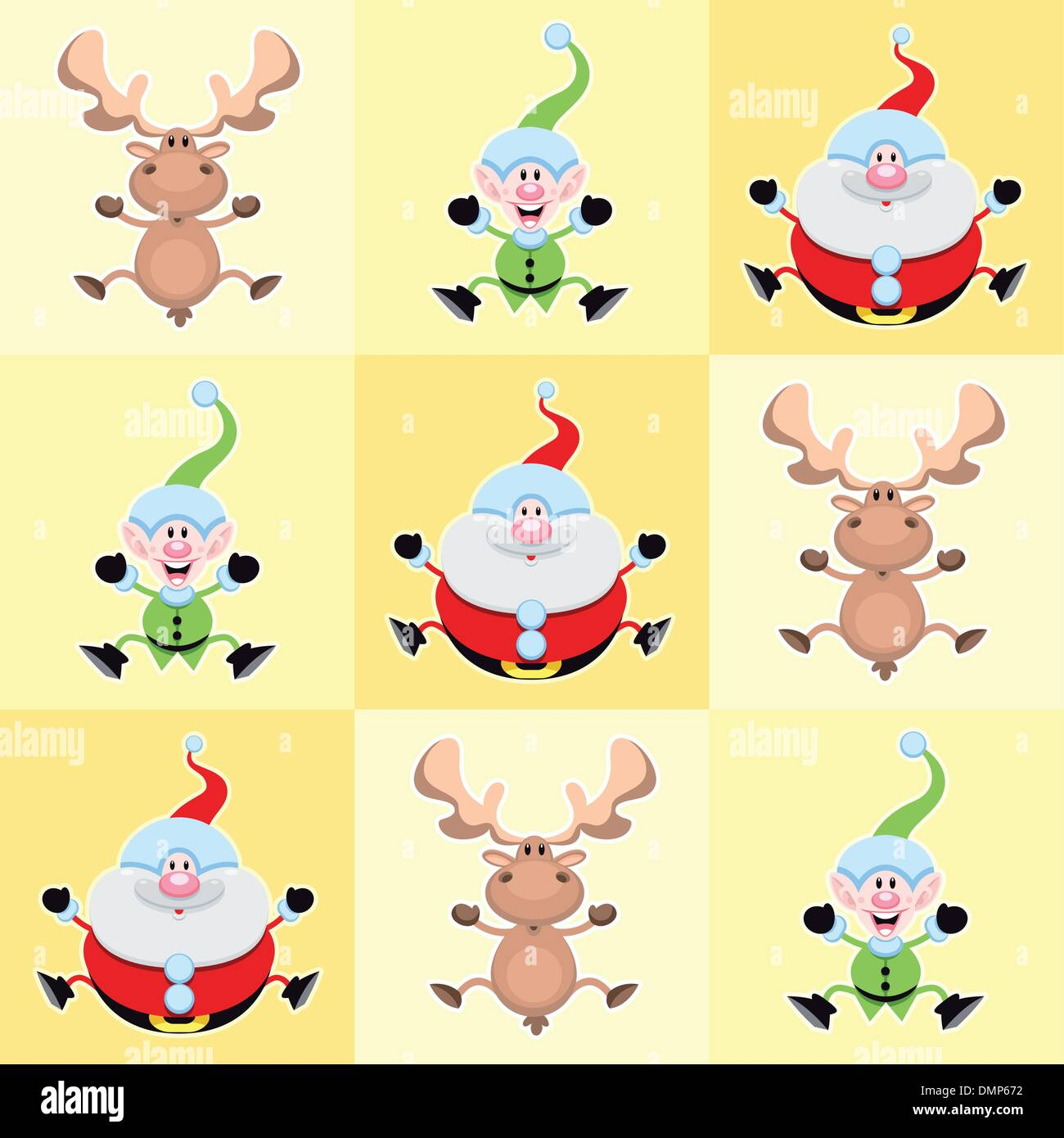 Christmas cartoon characters in yellow squares. - Stock Image