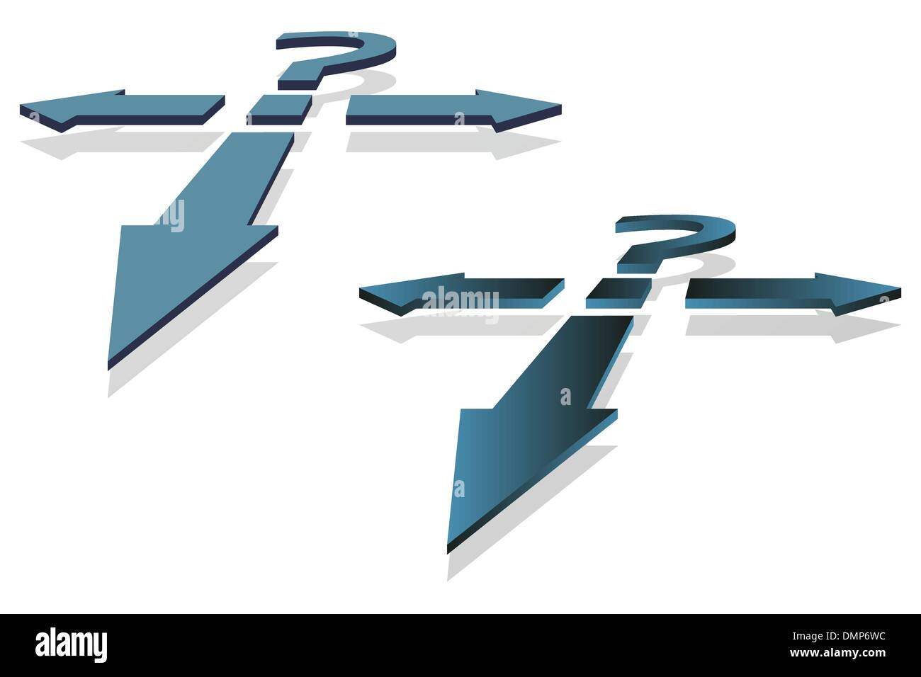 Question Mark and Arrows - Stock Image