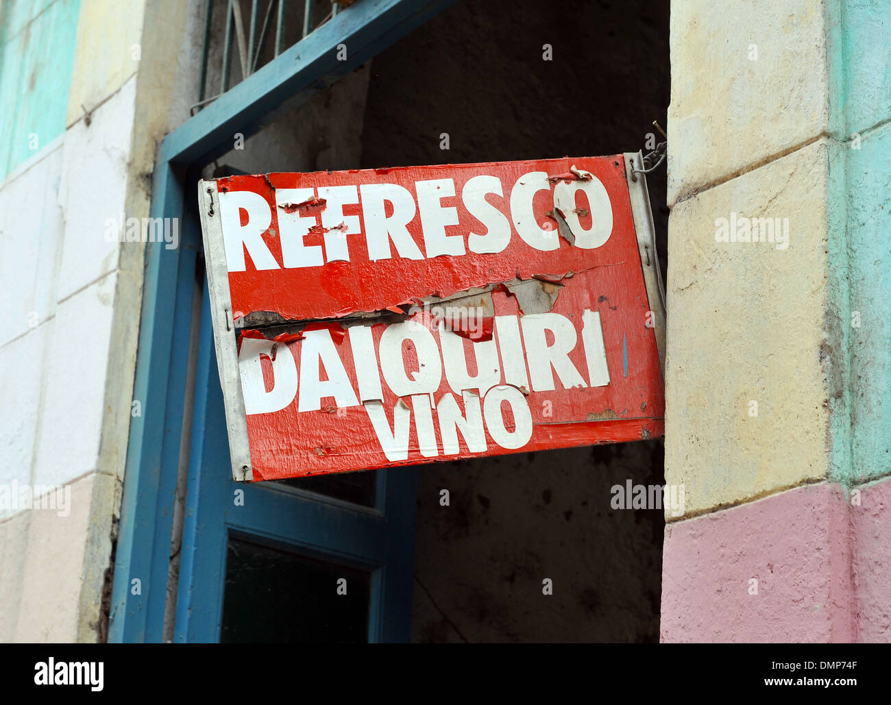 A sign advertising drink for sale in Havana, Cuba - Stock Image