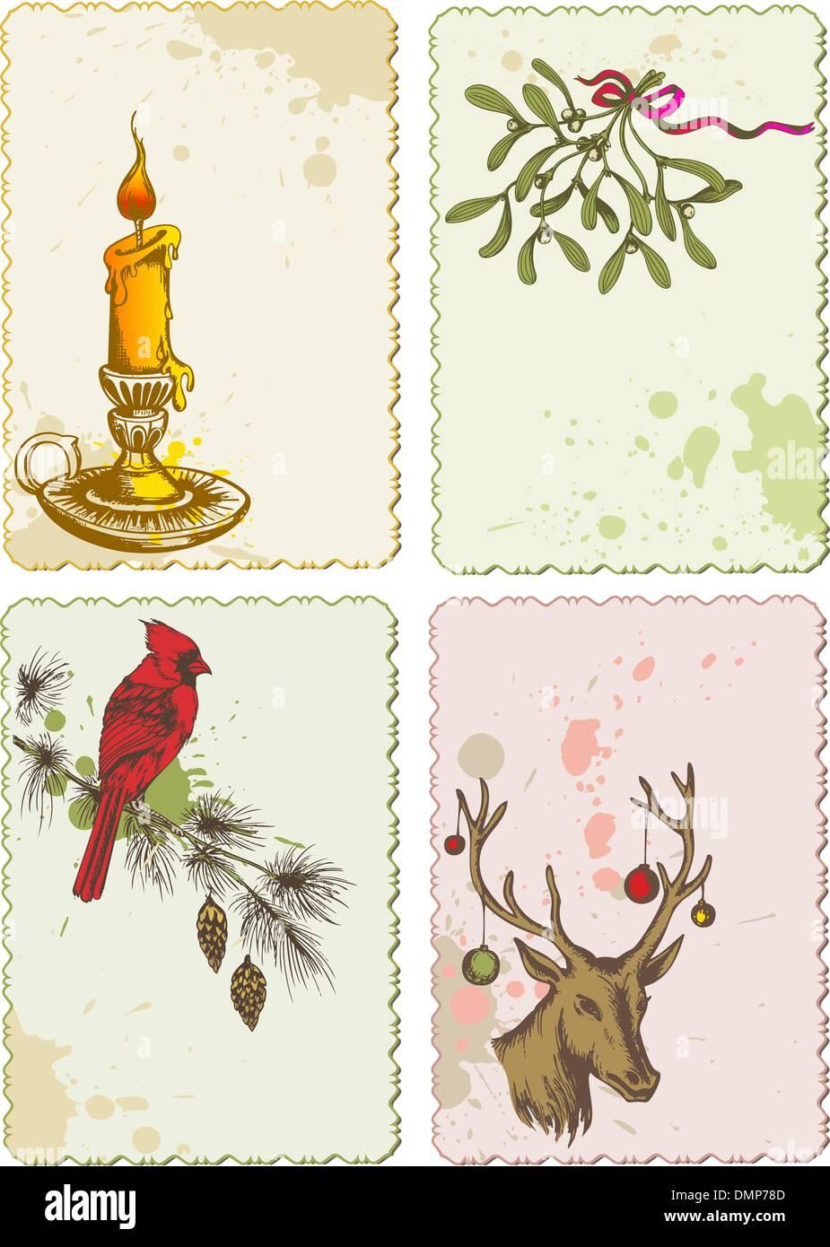 retro Christmas cards Stock Vector Art & Illustration, Vector Image ...