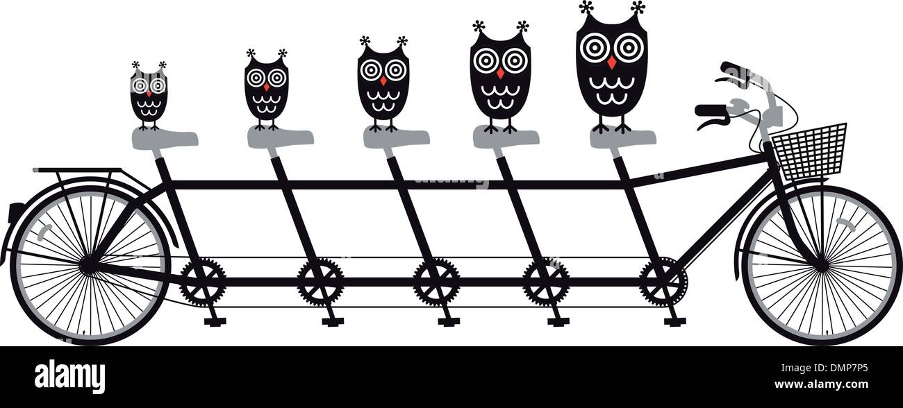 owls on tandem bicycle, vector - Stock Image