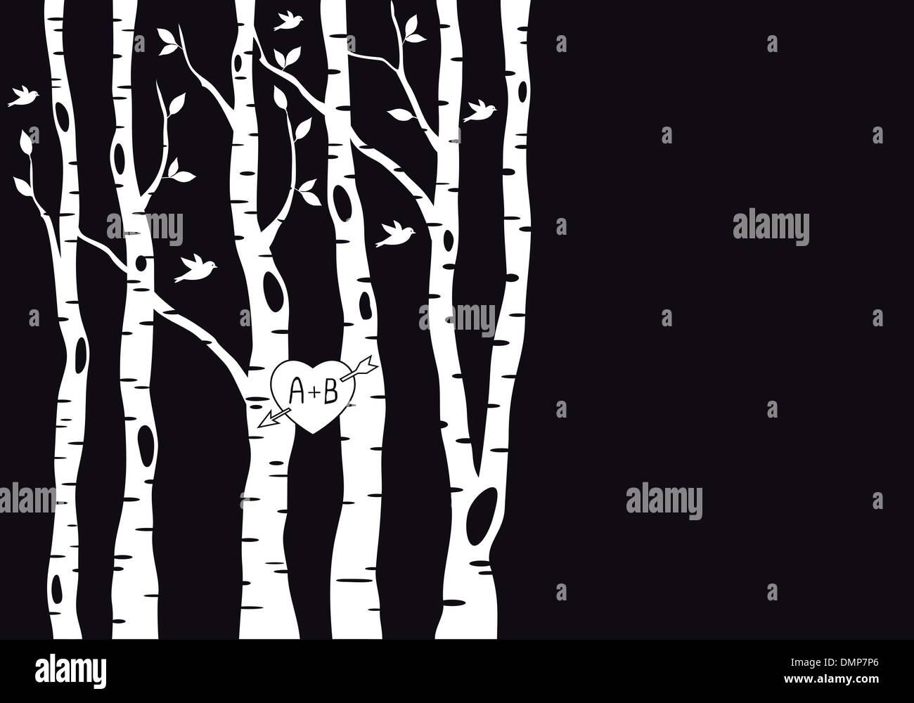 wedding invitation with birch trees, vector - Stock Image
